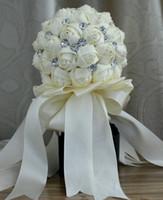 ribbon roses - New Arrival Wedding Bouquet Rose Shape Ribbon Artificial Lace Decoration Bridal Flowers FH0047