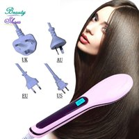 Wholesale Straightening Irons New Brush Auto Hair Straightener Comb Irons Come With LCD Display Electric Straight Hair Comb have box