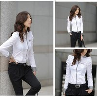 Wholesale Hot Sale New Sale White Lady Shrug Bubble Long Blouse Full Puff Sleeve Career Shirts Size S M L