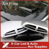 air vent covers - Exterior Accessories Car Stickers Black White Grey Air Flow Car Simulation Wind Mesh Air Flow Intake Scoop Turbo Bonnet Vent Cover Hood
