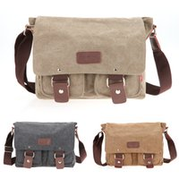 Wholesale Ship from USA Canvas Leather Bag Men s Vintage Canvas School Satchel Shoulder Messenger Bag quot Laptop Bag Casual Backpacks