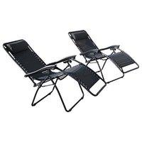 beach chair set - Set Of pecs Zero Gravity Chairs Black Lounge Patio Chairs Outdoor Yard Beach New
