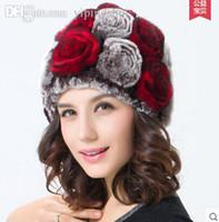 Wholesale Casual Style Topshop high quality Handmade Knitted Warm winter Rex rabbit Fur hats caps Chrismas Women beanies
