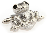 Wholesale Lepton Copper Lovely Frog cuff links Fashion animal design french cufflink man cufflink for gift holiday cufflink