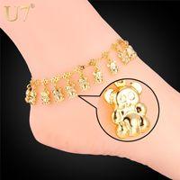 bear feet sandals - Summer Jewelry Foot Bracelet For Women K Real Gold Platinum Plated Cute Little Bear Anklet Bracelet Barefoot Sandals A303