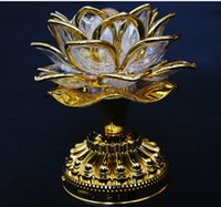 Wholesale Gold Battery Buddha Music Speaker Light Flower Fancy Colorful Changing LED Lotus Flower Romantic Wedding Decoration Party Lamp frees hipping
