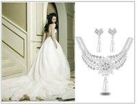 Wholesale Bridal Bridesmaid Rhinestone flower Costume pearl Jewelry Set Imitation Pearl Clear Crystal For Party Gift Costume Pearl Jewelry Sets