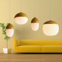 Wholesale Nordic Jane creative personality cafe restaurant bar bar wood single head glass hand painted nuts sweet pendant lamp