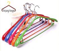 Cheap Colourful Colourful PVC Coated Laundry wide shoulder suit coat Metal Wire Hanger