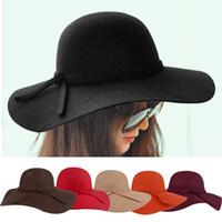 Wholesale New Arrivals Fashion Vintage New Women Lady Floppy Wide Brim Wool Felt Fedora Cloche Hat Cap fx223
