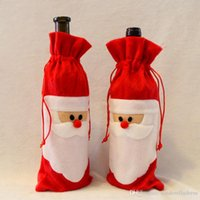 Wholesale 2016 Red Wine Bottle Cover Bags Christmas Dinner Table Decorations Home Party Decors Santa Claus Christmas Supplier MYF276