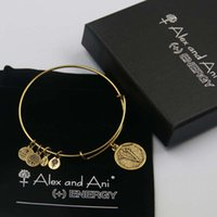 ani v - High quality mm diameter gold plated alex and ani Initial letter V Charm bracelet with box Drawstring bag