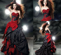 red and black wedding dresses - Custom Made Black And Red Cheap Wedding Dresses Sweetheart A Line Chapel Train Beads Appliques Bow Sash Ruffles Taffeta Bridal Gowns