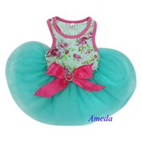 aqua pet - Aqua Blue Hot Pink Rose Flower Crystal Bow Party Dress Small Pet Dog Cat Clothes XS L