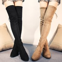 over the knee boots - 2015 fall elastic boots women over the knee suede boot female velvet boots thigh high flat Lowland Boot