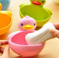 Wholesale 4 Bathroom Duck Shaped Plastic Shower Soap Suction Cup Holder Soapbox Dish Tray Toothbrush Toothpaste Pen Organizer