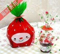 Wholesale PKD054 Cookie packaging plastic bags strawberry flat baking bag snack baking package x19cm