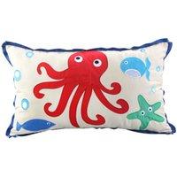 applique cushion cover - Sea Creature Pillow Case Cushion Cover x50cm capa de almofada For Sofa Seat Home Decor Embroidered Applique Cartoon Throw
