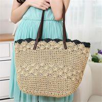 beach totes cheap - New Vintage Cheap Women Handbags Shopping Beach Ladies Bag Casual Bucket Tote Summer Straw Shoulder Bag