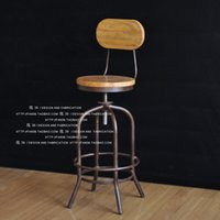Wholesale Wrought iron chairs combination of retro to do the old wood bar stool bar stool rotating lift factory direct