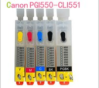 Wholesale color empty with Permanent reset chip PGI550 CLI551 Refillable ink cartridge for Canon PIXMA IP7250 MG5450 MX725 MX925