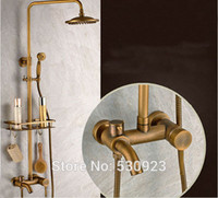 antique brass tub spout - Newly Bathroom Retro Shower Set Faucet Antique Brass Mixer Tap Commodity Shelf Dual Hooks Dual Handles Tub Spout Wall Mounted