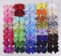 boutique hair bows - 2016 new selling pc girl baby inch boutique Hair Bows Grosgrain solid ribbon YA