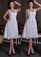 Wholesale Short Cap Sleeves Chiffon Wedding Dresses With Sleeves Knee Length Informal Beach Second Wedding Dresses Custom Made wd5577