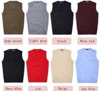 Wholesale sweater vest men s V neck solid color wool vest Seasons In Stock M87