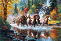 Wholesale Kazuma Run for Spring New printed canvas painting animals horses landscape living room wall decor art pictures unframed
