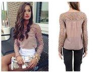 Cheap 2014 new Chiffon Embroidery Tops Long Sleeve Casual Woman Blouse Shirt blouses blusas femininas de manga comprida blusa renda