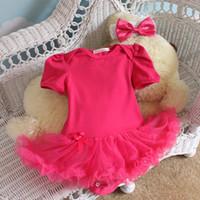 al por mayor bebé vestido negro rosa-Rosado llano / Rose / Color Negro del niño del bebé de las colmenas Tutu Romper mono del equipo del vestido de los mamelucos del mono Monos 47 colores U de recogida