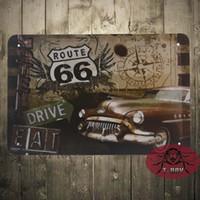 aluminum polishing supplies - Drive on Route Vintage Tin Sign Metal crafts festive supplies Bar Club Shop Bar decor