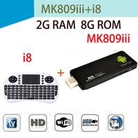 Wholesale 2G G Mini Android TV BOX MK809 III Wireless keyboard I8 with touchpad Rockchip RK3188T Quad Core MK809III TV Stick HDMI WIFI