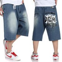 baggy shorts - Big size jeans short baggy loose hip hop pants blue casual rap jeans for rapper boy s calf length jeans hiphop big size