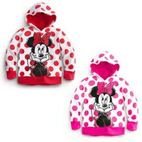 Girl Spring / Autumn Hooded Minnie Mickey Mouse Hoodie Coat Polka Dot Baby Girls Kids Blouses Tops Jacket
