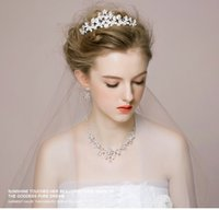 antique bridal earrings - Three sets Bridal Accessories new Bride headdress crown necklace earrings Wedding Suit three hair accessories