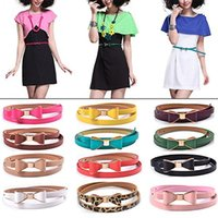 Wholesale Fashion Women s Candy Color Big Bowknot PU Leather Thin Skinny Waistband Belt S3