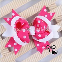 Wholesale 2014 New Baby Colorful Polka Dot Ribbon Bows with Clips Hair Pins Wheel Baby Girl Hair Accessories colors Avaliable