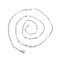 Cheap Silver Link Chain Necklace Stainless Steel Metal With Lobster Clasp Hiphop Style Never Fade Color 20pcs