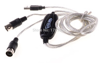 Wholesale 50Pcs MIDI USB IN OUT Interface Cable Cord Converter PC to Music Keyboard Adapter GE81