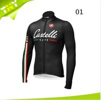 Wholesale Castelli Cycling Top Jerseys Winter Warmer Fleece Long Sleeve Bicycle Clothing Pro Team Bike Wear High Elastic Spandex Riding Skinsuit Soft
