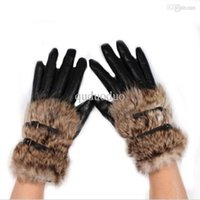 Wholesale New Faux Rabbit Fur Hasp Fur Fashion Short Design Women s Leather Gloves Winter Thickening Elegant Gloves For Women