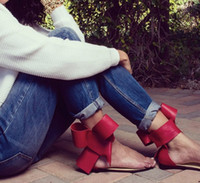 ankle clips - oversized bow large flowers thong clip toe flat heel open toe sandals ankle strap fashion classic runway streetwear shoes