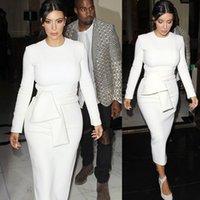 achat en gros de robes moulantes kardashian-Best Selling Real Picture Blanc Kim Kardashian Robes de soirée de célébrité 2016 en magasin à col ras du cou à manches longues thé longueur Robe de soirée de bal