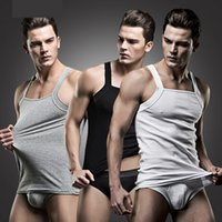 bamboo singlets - 1Set Casual Men Square Collar Cotton Undershirts Male Sleep Tops Saxx One piece Bodybuilding Singlet Gymshark Men s Clothes