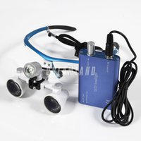 surgical loupes - 2015 Dental Dentist Surgical Medical Binocular Loupes X Optical Glass Loupe LED Head Light Lamp Blue