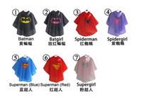 Wholesale Rain Coat for children superhero Raincoat Rainwear Rainsuit Kids Waterproof superman batman spiderman for kids gift Raincoat