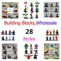 al por mayor kids wholesale-8pcs / set Super héroes Los Vengadores Building Blocks Ninja Turtles Minifigure niños juguetes de acción mini figura ladrillos