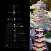 Wholesale DHL EMS Free Tier Crystal Clear Acrylic Square Cupcake Stand for Wedding Birthday Party Cake Display Decoration Product Supply
